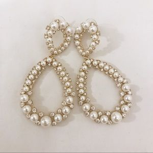 Macy's | Pave Pearl Diamond Tear Drop Earrings